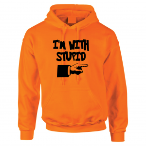 I'm with Stupid, Orange/Black, Hoodie
