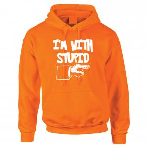 I'm with Stupid, Orange/White, Hoodie
