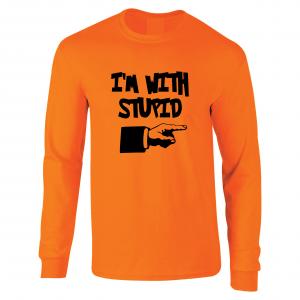 I'm with Stupid, Orange/Black, Long-Sleeved