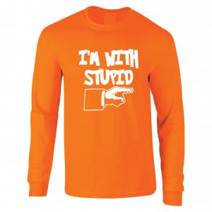 I'm with Stupid, Orange/White, Long-Sleeved