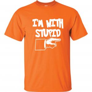 I'm with Stupid, Orange/White, T-Shirt
