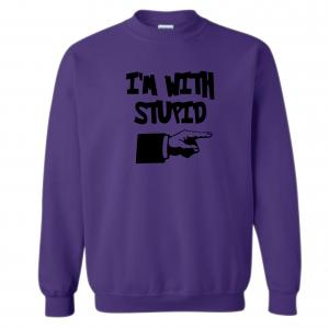 I'm with Stupid, Purple/Black, Crew Sweatshirt