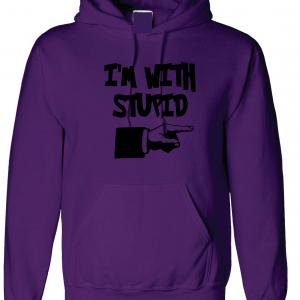 I'm with Stupid, Purple/Black, Hoodie