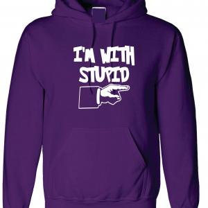 I'm with Stupid, Purple/White, Hoodie