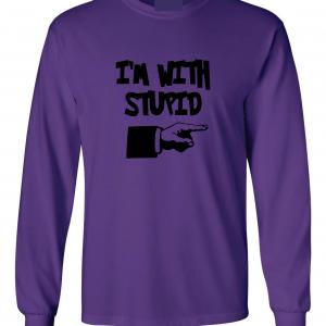 I'm with Stupid, Purple/Black, Long-Sleeved