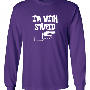 I'm with Stupid, Purple/White, Long-Sleeved