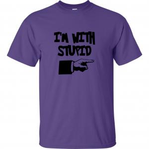I'm with Stupid, Purple/Black, T-Shirt