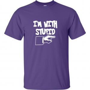 I'm with Stupid, Purple/White, T-Shirt