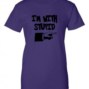 I'm with Stupid, Purple/Black, Women's Cut T-Shirt