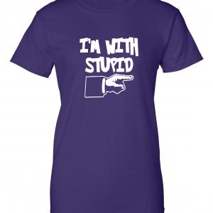 I'm with Stupid, Purple/White, Women's Cut T-Shirt