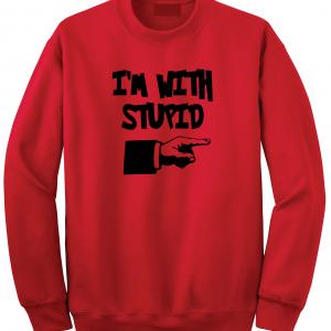 I'm with Stupid, Red/Black, Crew Sweatshirt