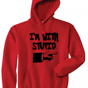 I'm with Stupid, Red/Black, Hoodie
