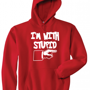 I'm with Stupid, Red/White, Hoodie