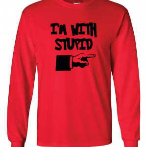 I'm with Stupid, Red/Black, Long-Sleeved