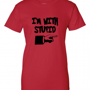 I'm with Stupid, Red/Black, Women's Cut T-Shirt