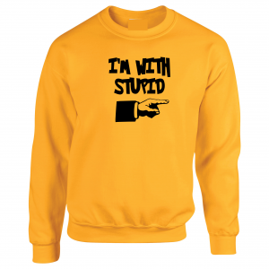 I'm with Stupid, Yellow/Black, Crew Sweatshirt