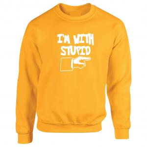 I'm with Stupid, Yellow/White, Crew Sweatshirt
