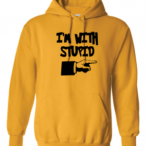 I'm with Stupid, Yellow/Black, Hoodie