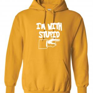 I'm with Stupid, Yellow/White, Hoodie