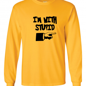 I'm with Stupid, Yellow/Black, Long-Sleeved