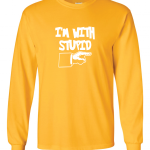 I'm with Stupid, Yellow/White, Long-Sleeved