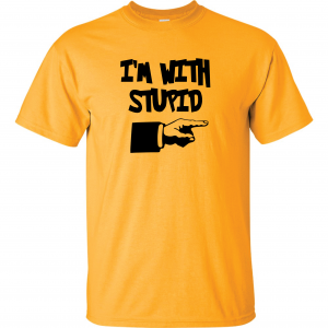 I'm with Stupid, Yellow/Black, T-Shirt