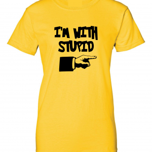 I'm with Stupid, Yellow/Black, Women's Cut T-Shirt