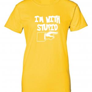 I'm with Stupid, Yellow/White, Women's Cut T-Shirt
