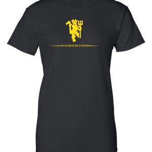 Manchester United, Black/Yellow, Women's Cut T-Shirt