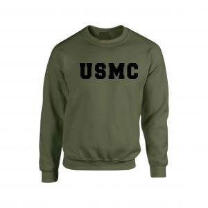 USMC - Marine Corps, Army Green/Black, Crew Sweatshirt