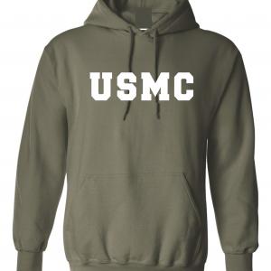 USMC - Marine Corps, Army Green/White, Hoodie