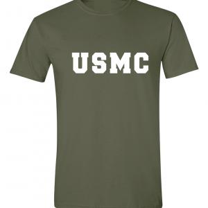 USMC - Marine Corps, Army Green/White, T-Shirt