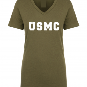 USMC - Marine Corps, Army Green/White, Women's Cut T-Shirt