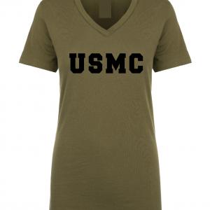 USMC - Marine Corps, Army Green/Black, Women's Cut T-Shirt