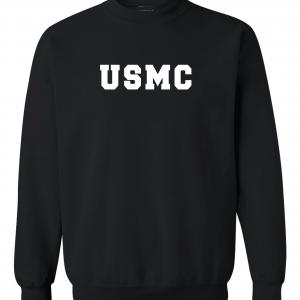 USMC - Marine Corps, Black/White, Crew Sweatshirt