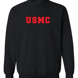 USMC - Marine Corps, Black/Red, Crew Sweatshirt