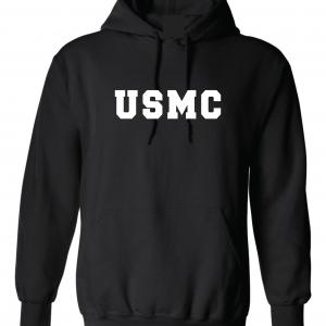 USMC - Marine Corps, Black/White, Hoodie