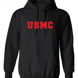 USMC - Marine Corps, Black/Red, Hoodie