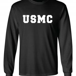 USMC - Marine Corps, Black/White, Long-Sleeved