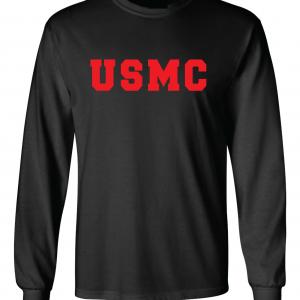 USMC - Marine Corps, Black/Red, Long-Sleeved