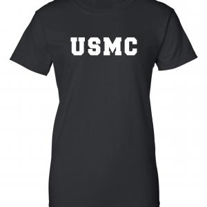 USMC - Marine Corps, Black/White, Women's Cut T-Shirt