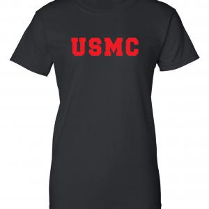 USMC - Marine Corps, Black/Red, Women's Cut T-Shirt