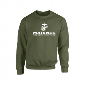USMC World - Marines, Army Green-White, Crew Sweatshirt