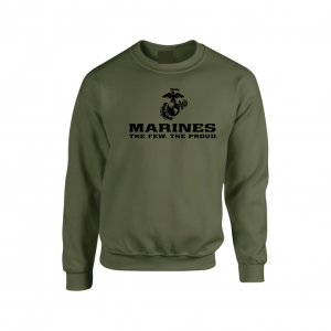 USMC World - Marines, Army Green/Black, Crew Sweatshirt