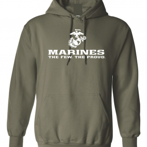 USMC World - Marines, Army Green/White, Hoodie