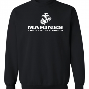 USMC World - Marines, Black/White, Crew Sweatshirt