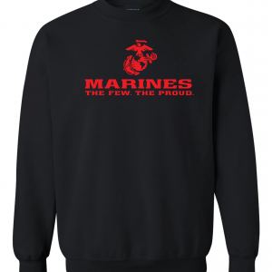 USMC World - Marines, Black/Red, Crew Sweatshirt