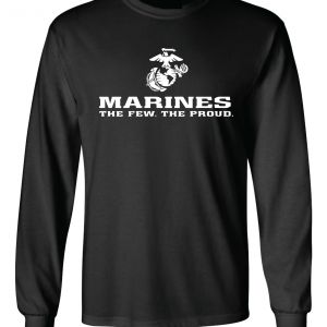 USMC World - Marines, Black/White, Long-Sleeved