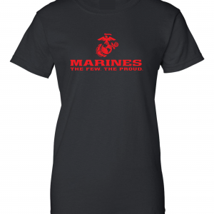 USMC World - Marines, Black/Red, Women's Cut T-Shirt
