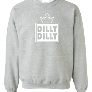 Dilly Dilly Crown, Grey/White, Crew Sweatshirt